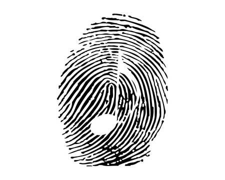 odcisk kciuka: Odcisków palców notą muzyki Ilustracja