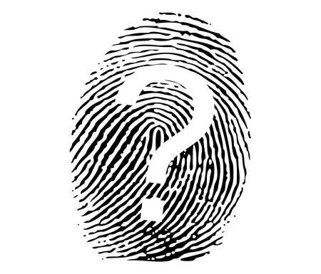 investigating: Fingerprint with question sign vector