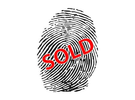Fingerprint with SOLD  sign-vector Stock Vector - 9387903