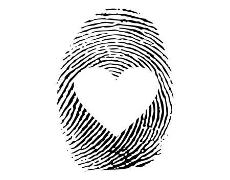 romanticismo: Impronte digitali con cuore di amore