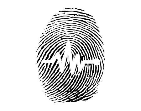 Impronte digitali con attività elettrica del cuore umano Vettoriali