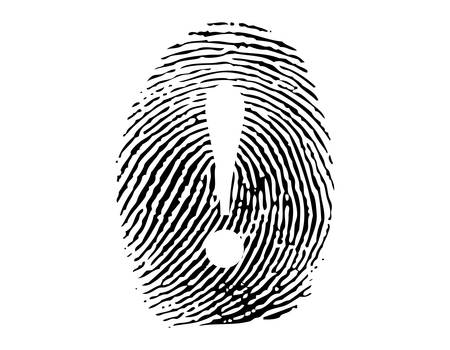 personal data privacy issues: Fingerprint with exclamation sign vector