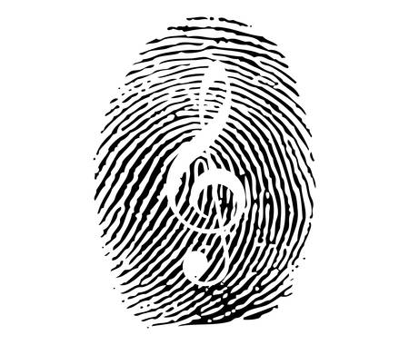 themes: Fingerprint with music theme Illustration