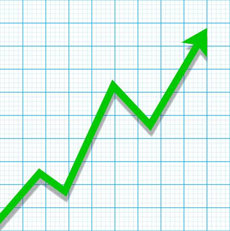 profit and loss: Graph paper with profit loss chart