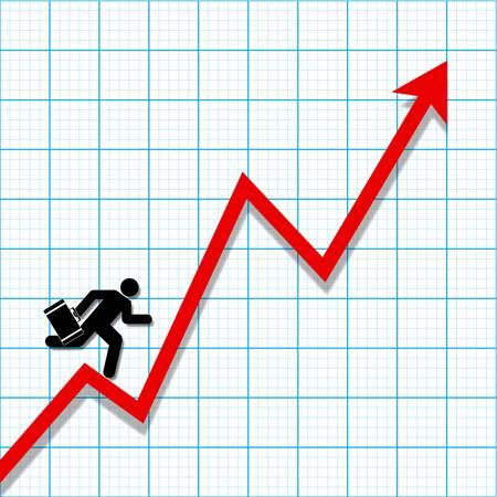 profit and loss: Carta Grafico con grafico perdita di profitto e uomo d'affari