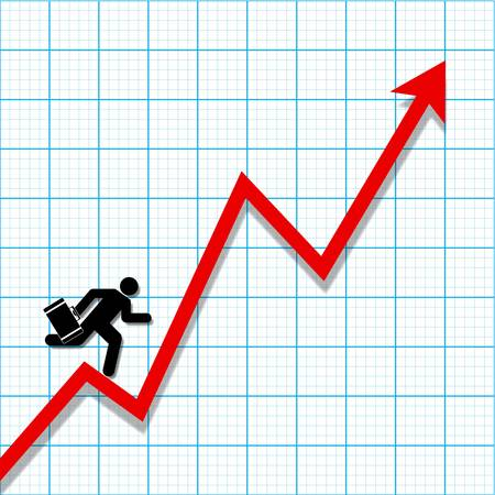 profit loss: Graph paper with profit loss chart and businessman