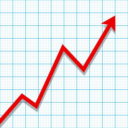 increase: Graph paper with profit loss chart