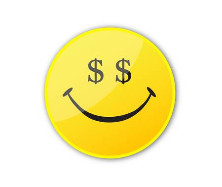 smile icon: Smile face with dollar eyes Illustration