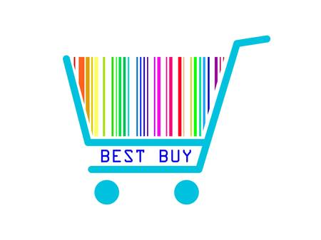 mall signs: Best buy shopping cart Illustration