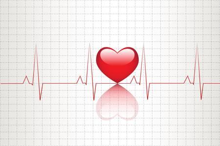 latidos del coraz�n: Ilustraci�n de la actividad el�ctrica del coraz�n humano