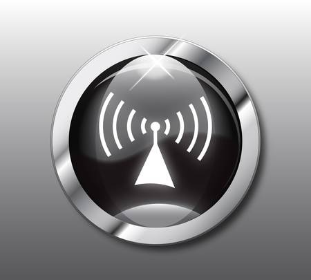 wifi sign: Black wireless button vector