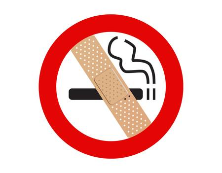 adhesive plaster: No smoking sign with adhesive plaster