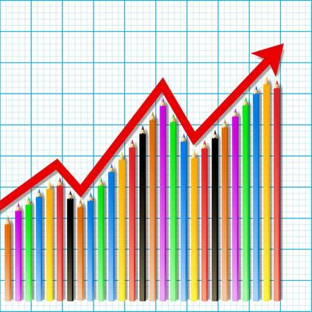 stock graph: Pencil stock graph paper  Illustration