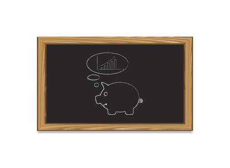 Chalkboard  with piggy bank thinking trend graph Vector
