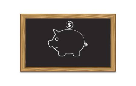 Chalkboard  with piggy bank-vector illustration Vector