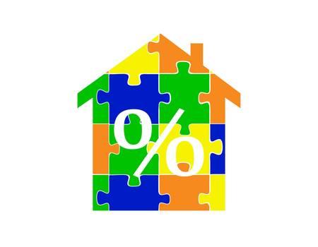 bankroll: Puzzle house percent-vector illustration Illustration