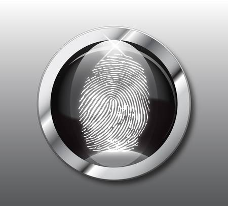 investigating: Black button fingerprint-vector illustration