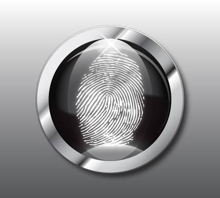Black button fingerprint-vector illustration