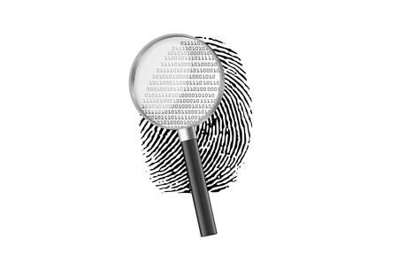 Magnify fingerprint binary code Illustration
