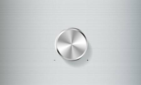 Volume knob control isolated on brushed metal plate  Stock Vector - 15357455
