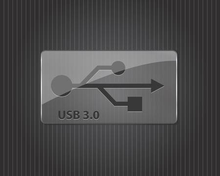 USB 3.0 glass sign- illustration Vector