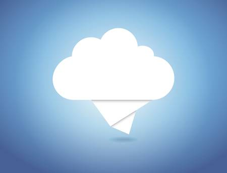 Vector concept origami computer cloud Vector