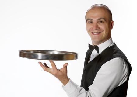 Waiter with empty tray photo