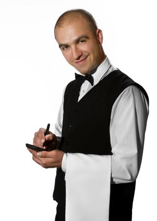 meseros: Camarero espera de una orden Foto de archivo