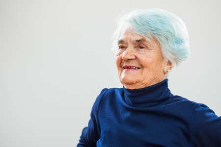 80 plus years: Portrait of happy senior woman Stock Photo