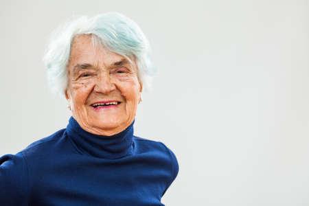 80 plus adult: Portrait of happy senior woman Stock Photo