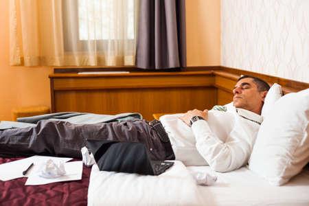 tired businessman: Tired businessman is sleeping