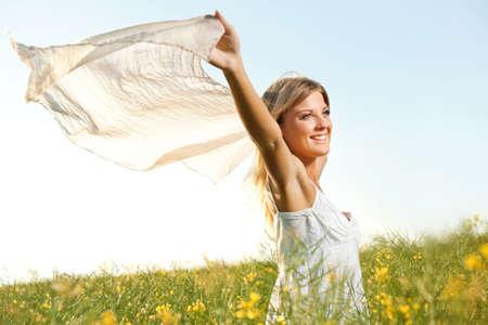 femme blonde: Femme heureuse Banque d'images