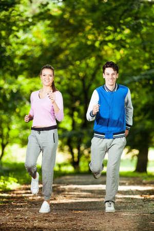 happy teenagers: Happy teenagers jogging