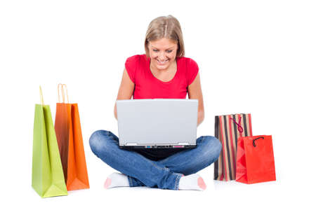 woman searching: Woman searching for online shopping Stock Photo