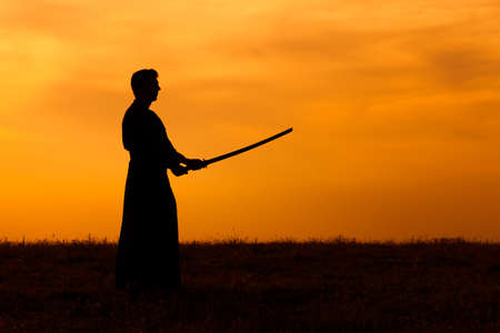 kendo: Silhouette of kendo fighter holding bokuto