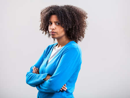 offended: Portrait of offended woman