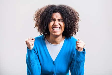 closed fist: Impatient woman