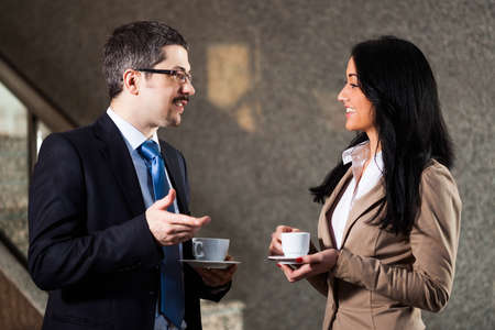 two people meeting: Business people talking Stock Photo