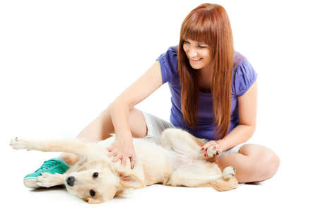 german shepard: Woman having fun with her dog