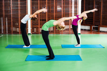salutation: Girls practicing yoga Yoga Asana  variation of Sun salutation pose