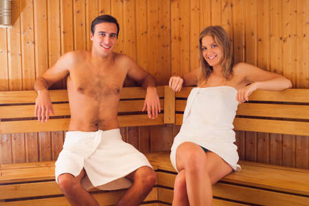 sauna: Couple enjoying sauna