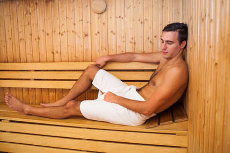 Man enjoying sauna Stock Photo