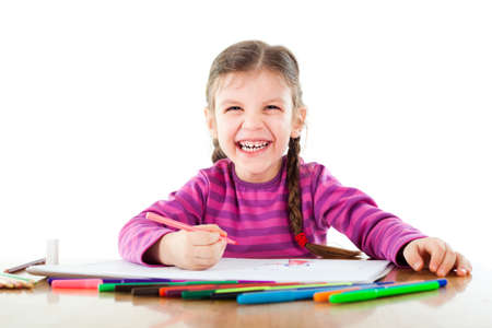 어린 소녀: 스케치 어린 소녀 스톡 사진