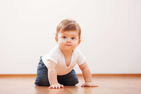 Cute baby boy crawling