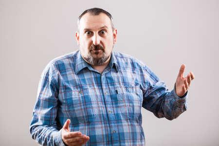 raised eyebrows: Portrait of surprised man