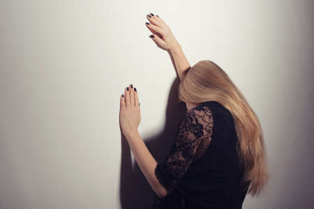intentionally: Depressed woman, intentionally toned Stock Photo