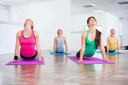 bhujangasana: Four girls practicing yoga, Yoga - Bhujangasana Cobra Pose