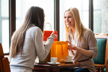 women talking: Two women talking in a cafe after shopping Stock Photo