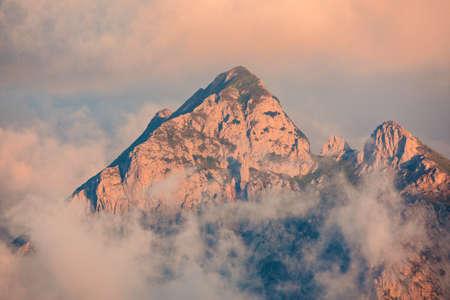 Mountain peak in the morning. 免版税图像