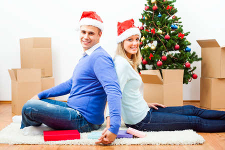 Happy couple is celebrating Christmas in their new home.